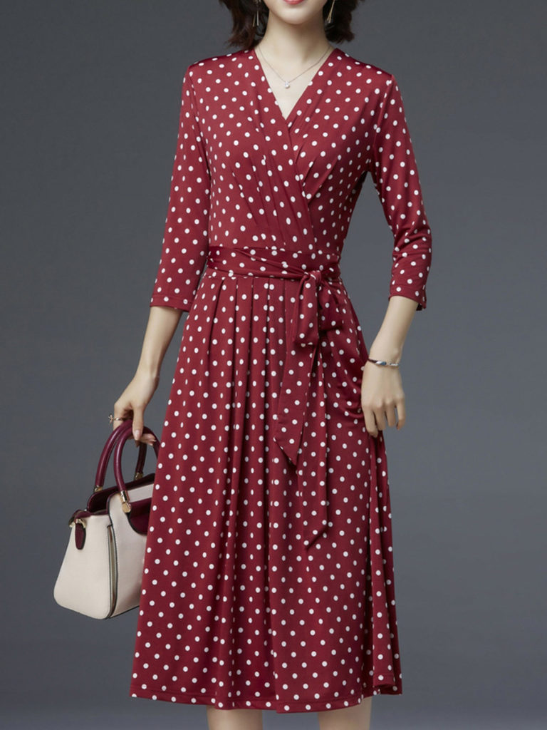 V-neck Polka Dot Waist Dress