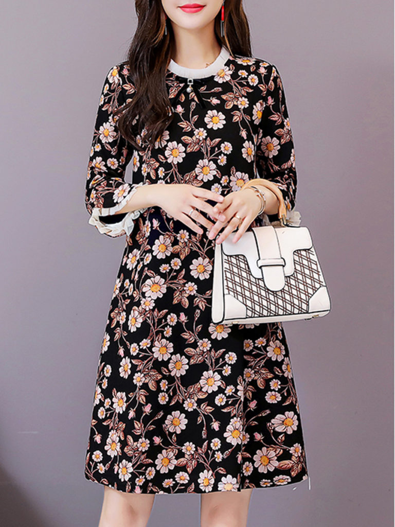 Floral A-line Mid-sleeve Dress