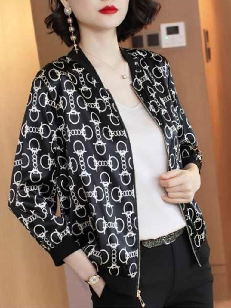 Crew Neck Long Sleeve Printed Jacket