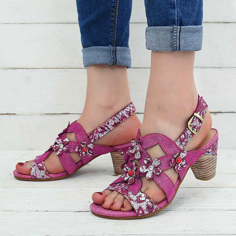 Women's fashion ethnic flower high heel sandals