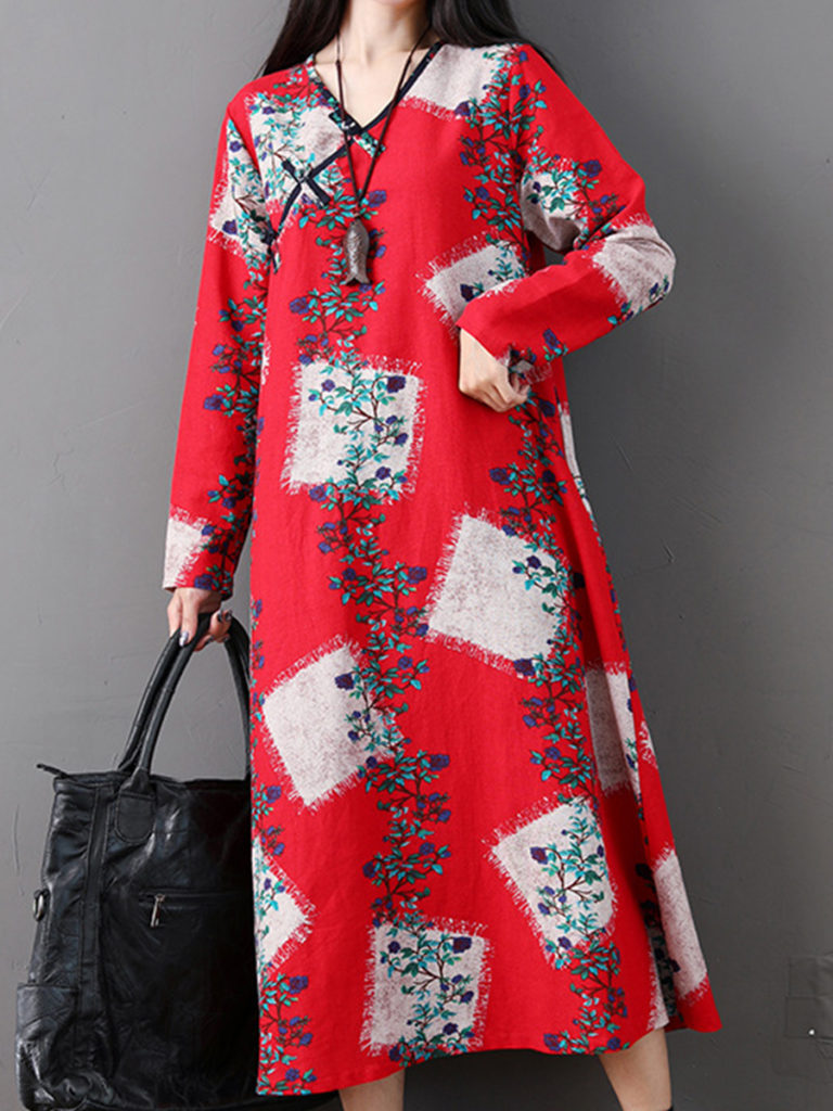 V-neck Long Sleeve Printed Dress