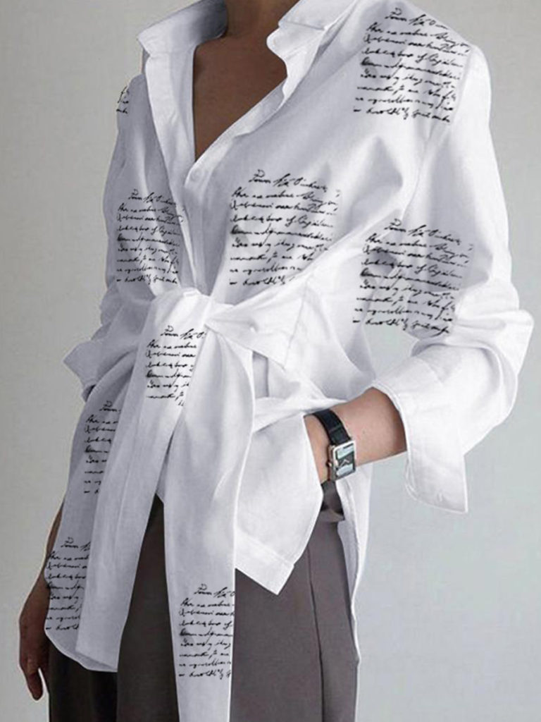 Turn Down Collar Letter Print Long Sleeve Blouse