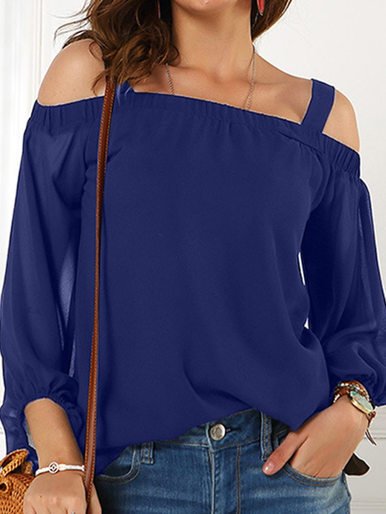 Open Shoulder Collar Plain Long Sleeve Blouse