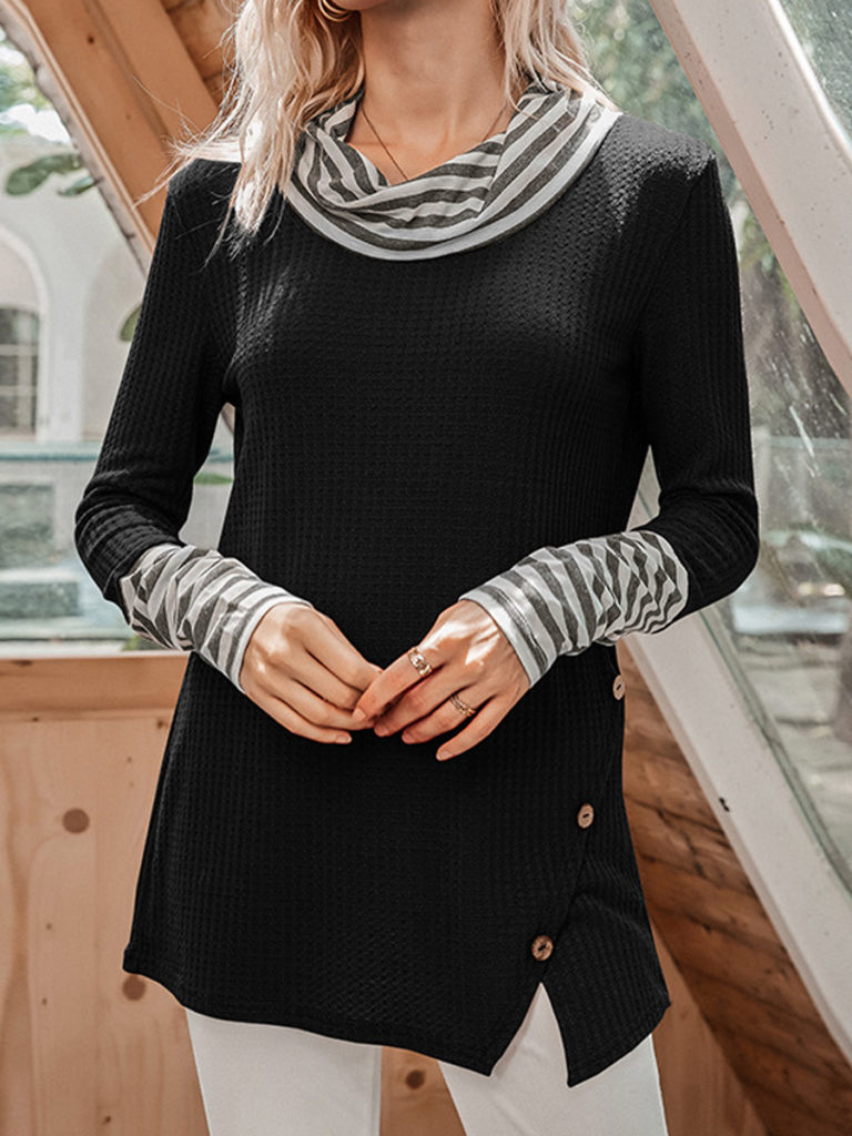 Heap Collar Striped Patchwork Long Sleeve T-shirt
