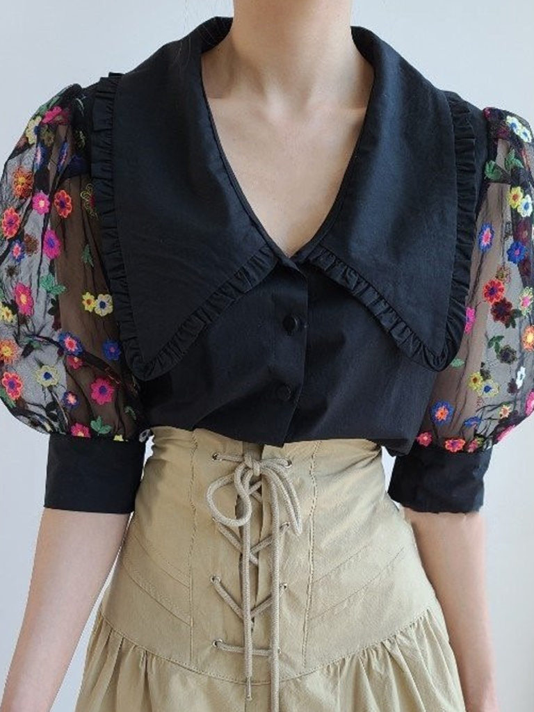Turn Down Collar Embroidery Short Sleeve Blouse