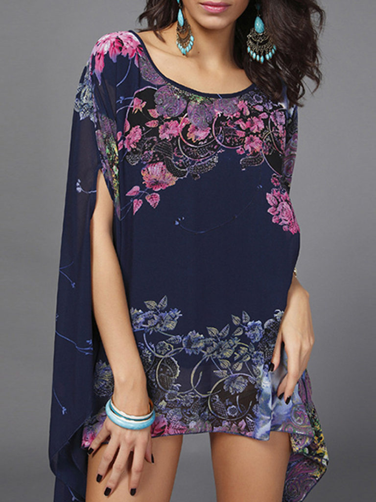 Round Neck Floral Print Short Sleeve Blouse