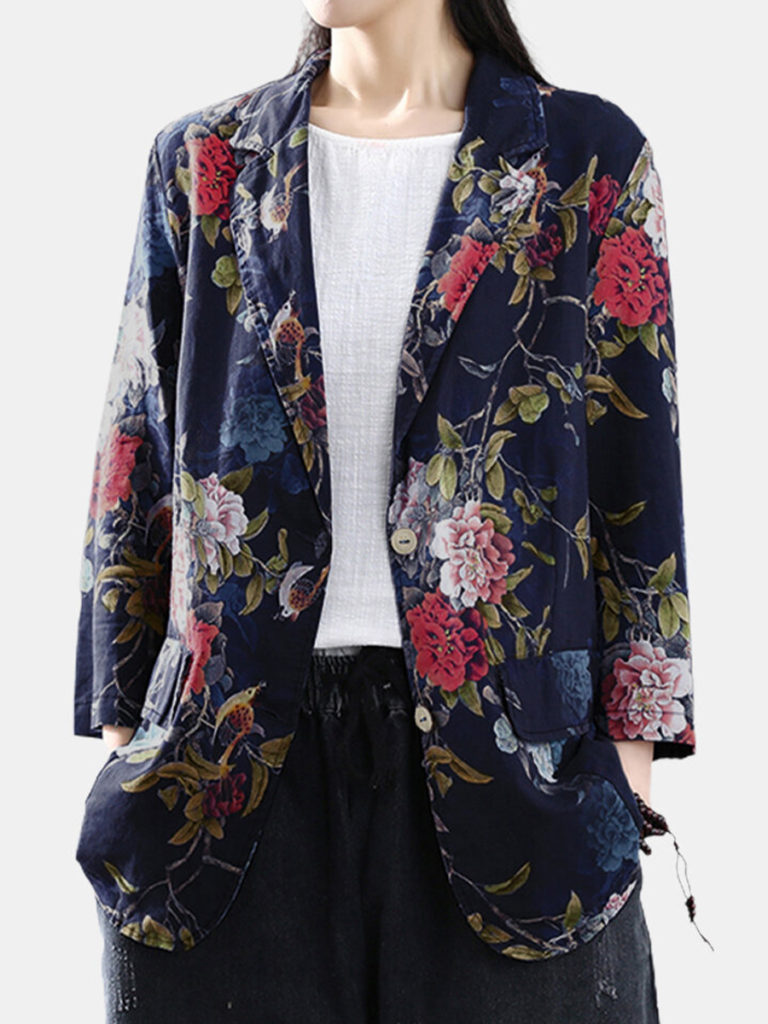 Floral print pocket retro sleeve cotton jacket
