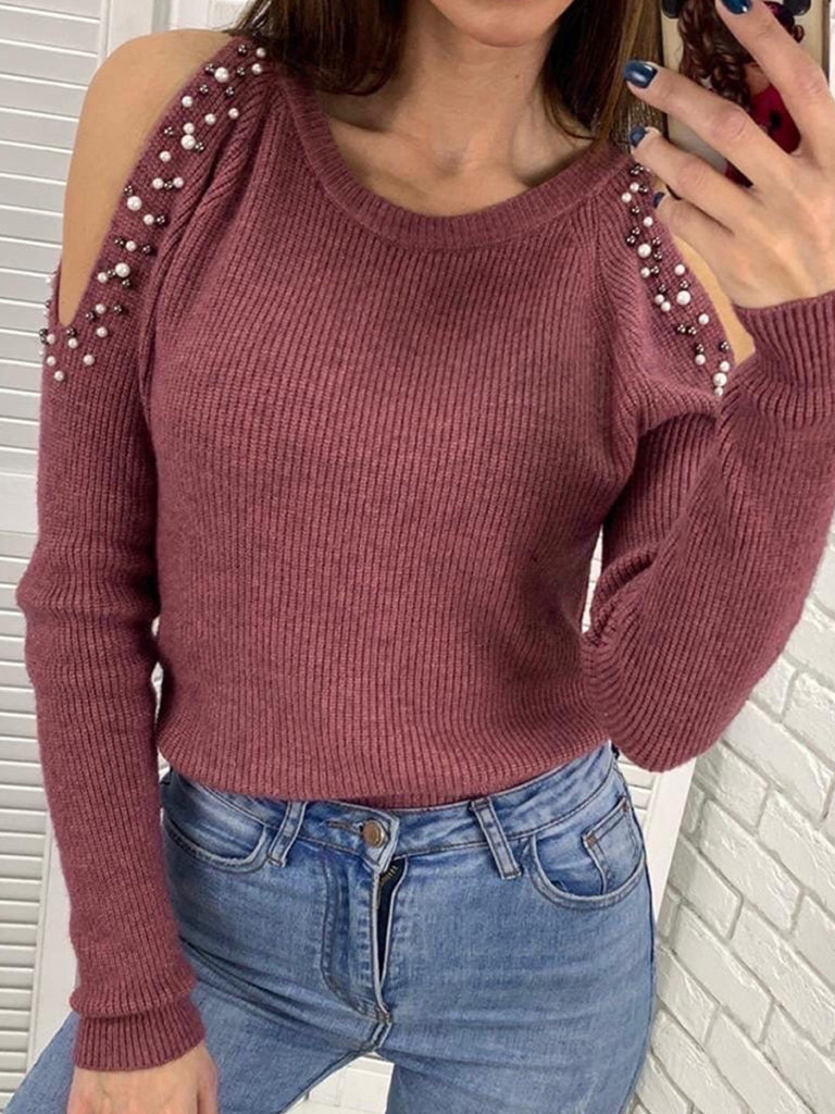 Round Neck Open Shoulder Beading Long Sleeve Knit Pullover