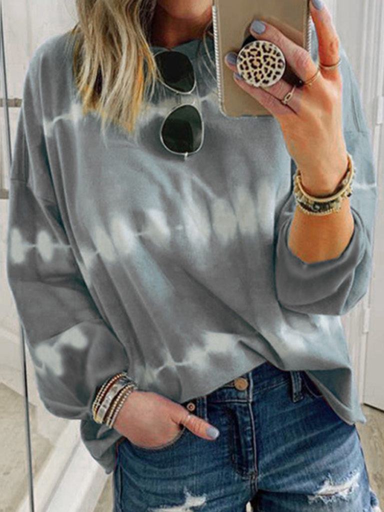 Round Neck Tie-dye Long Sleeve T-shirt