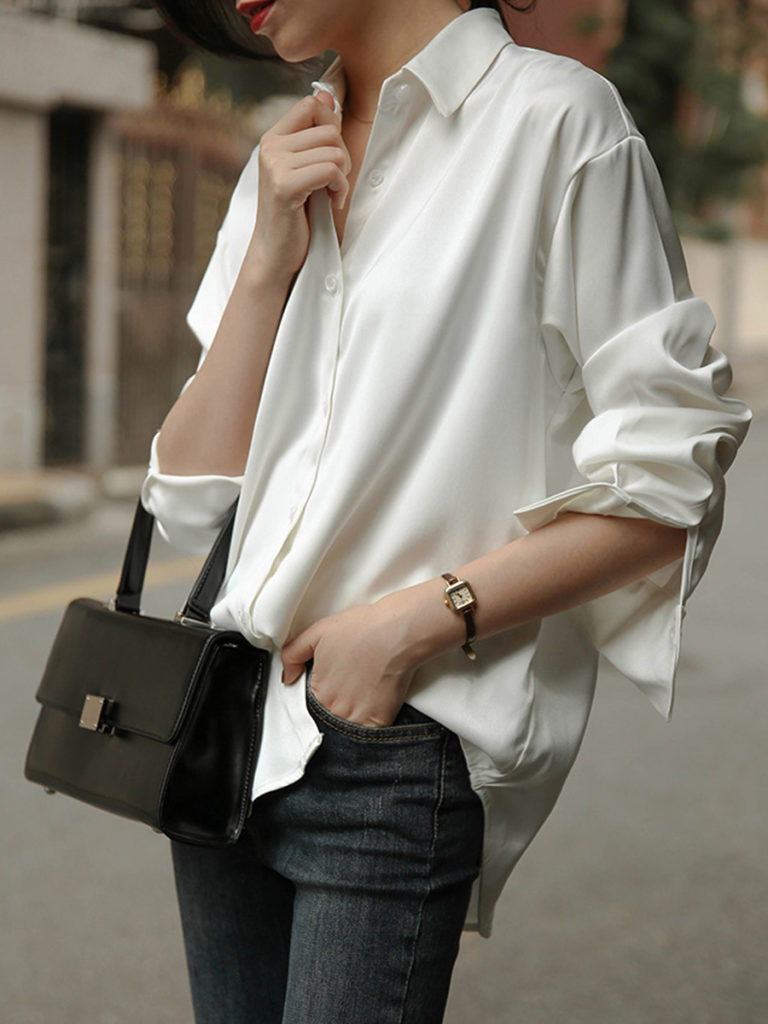 Turn Down Collar Plain Long Sleeve Blouse