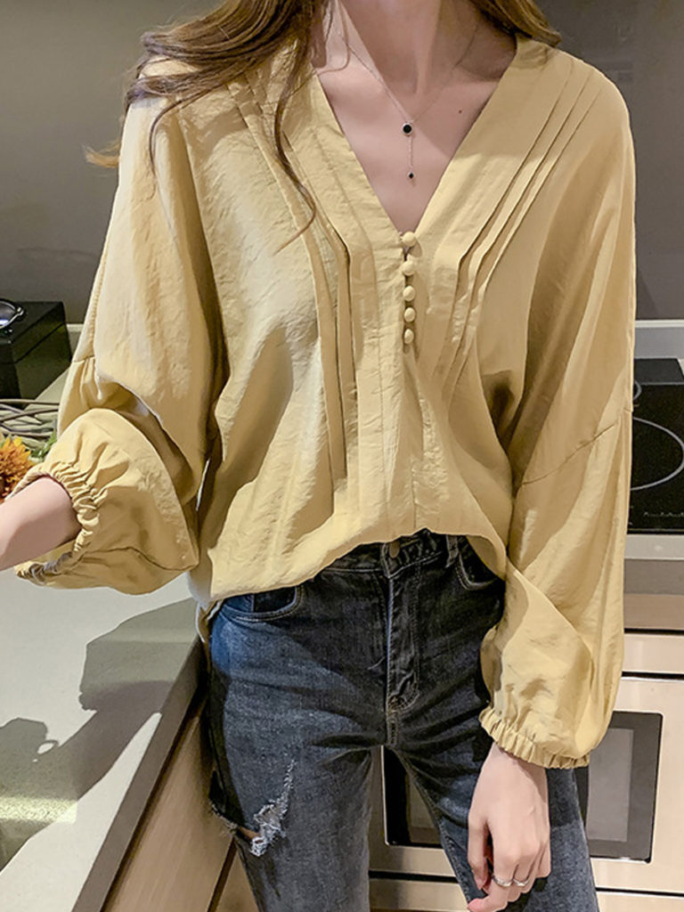 V Neck Plain Long Sleeve Blouse