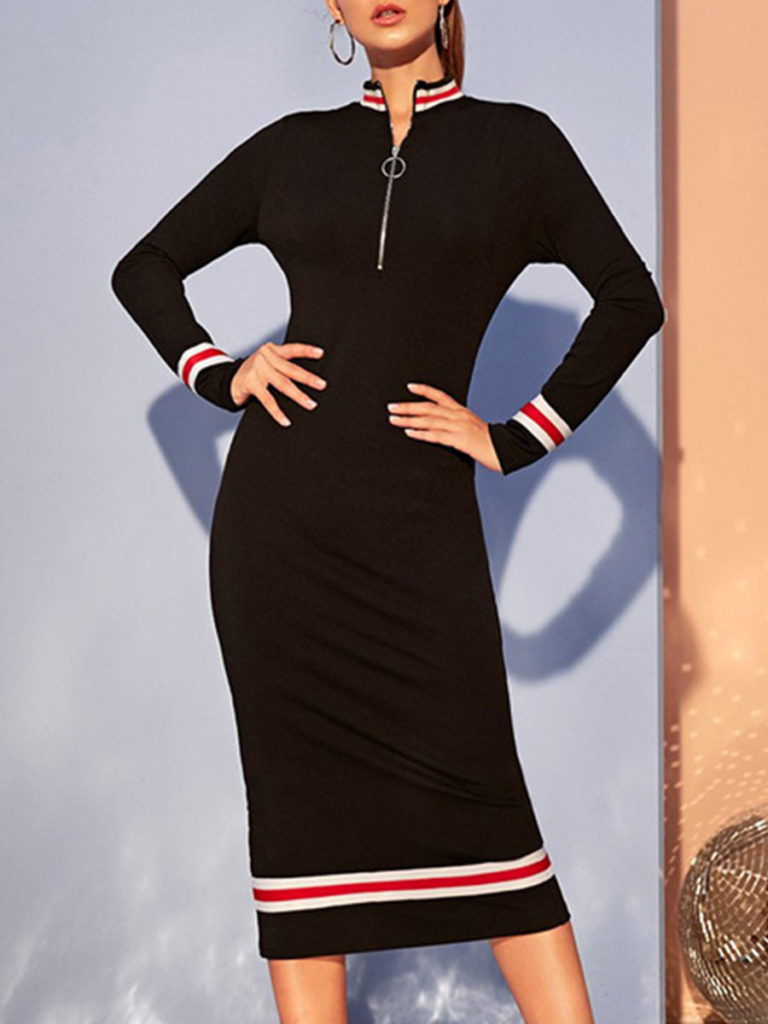Stretch Color Block Slim Dress