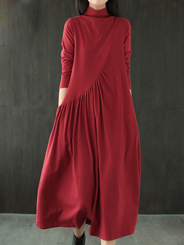 Long Sleeve Loose Solid Color Big Swing Dress