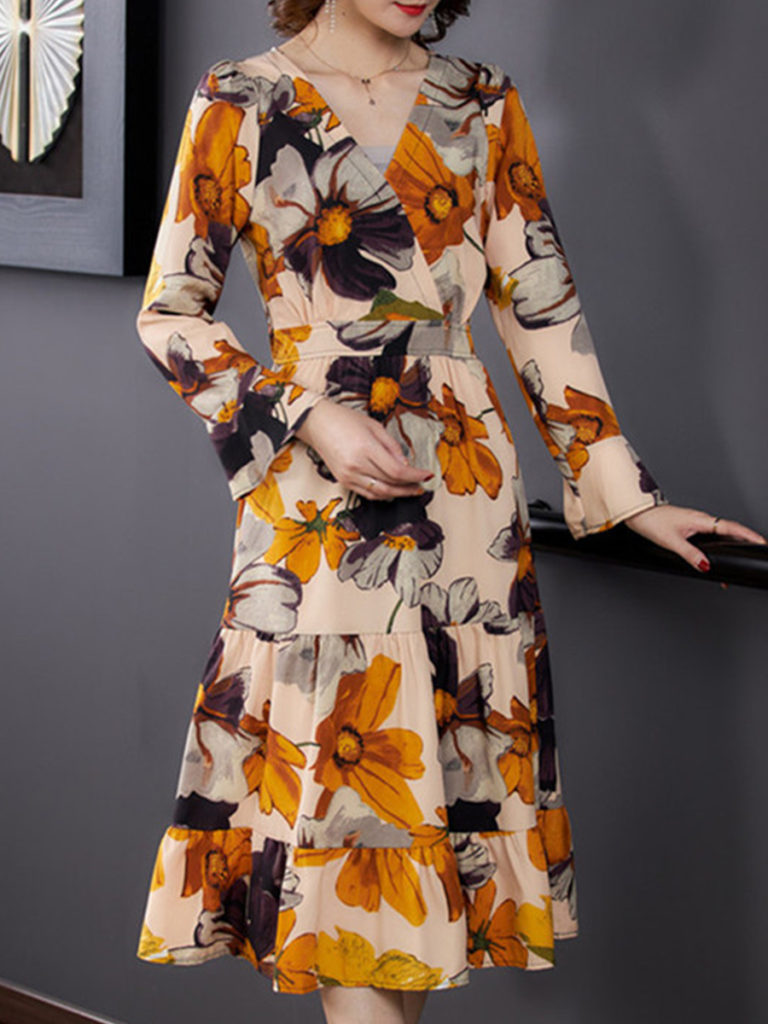 Long Sleeve Waisted V-neck Printed Dress