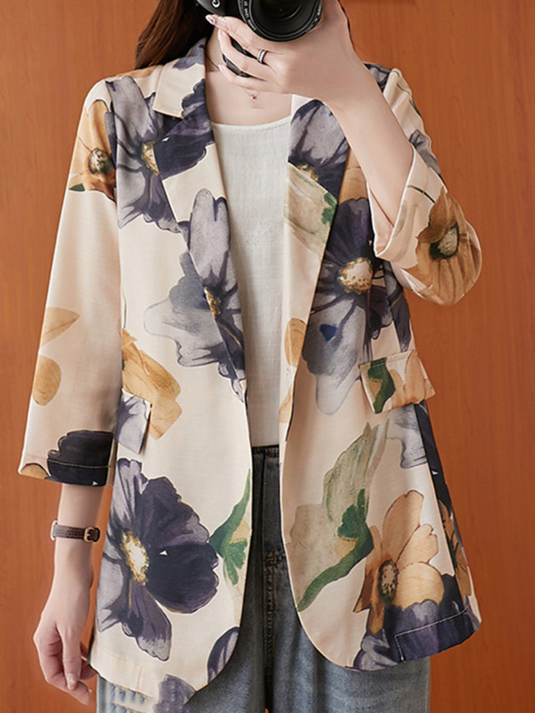 Cotton and linen printed small suit casual jacket