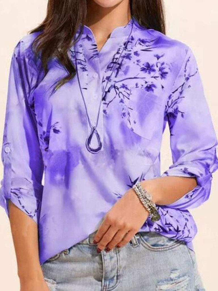 V Neck Print Long Sleeve Blouse