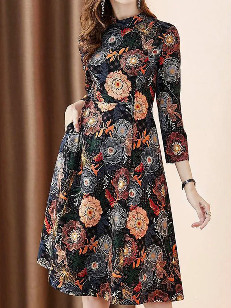 Printed Long Sleeve Stand Collar Waist Dress