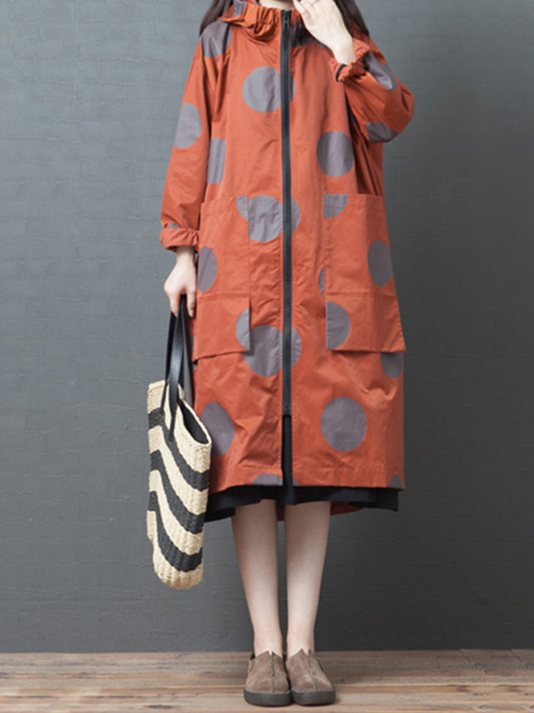 Polka dot casual hooded mid-length trench coat