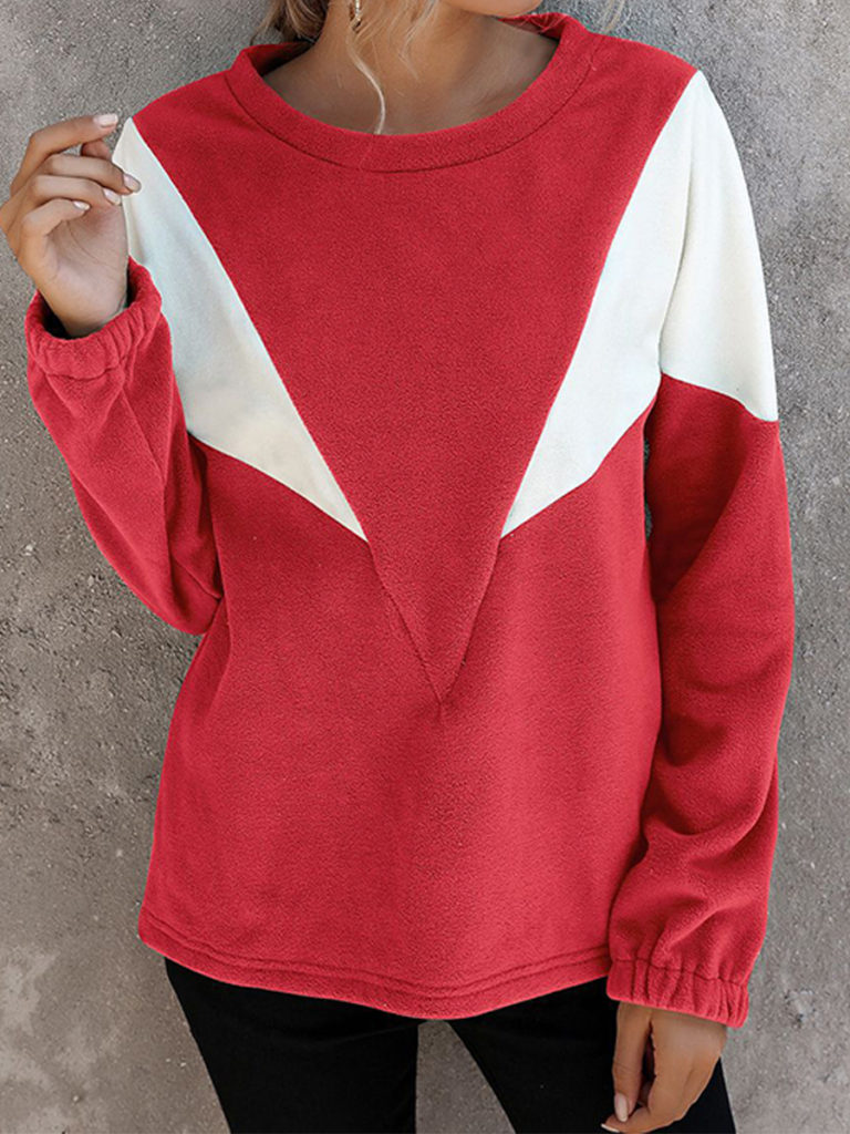 Autumn and winter women's contrast color V-shaped round neck sweater