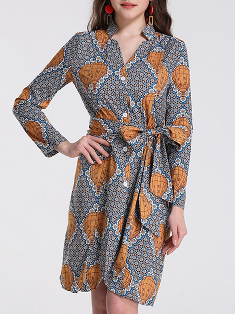 Printed Waist Long Sleeve V-neck Dress
