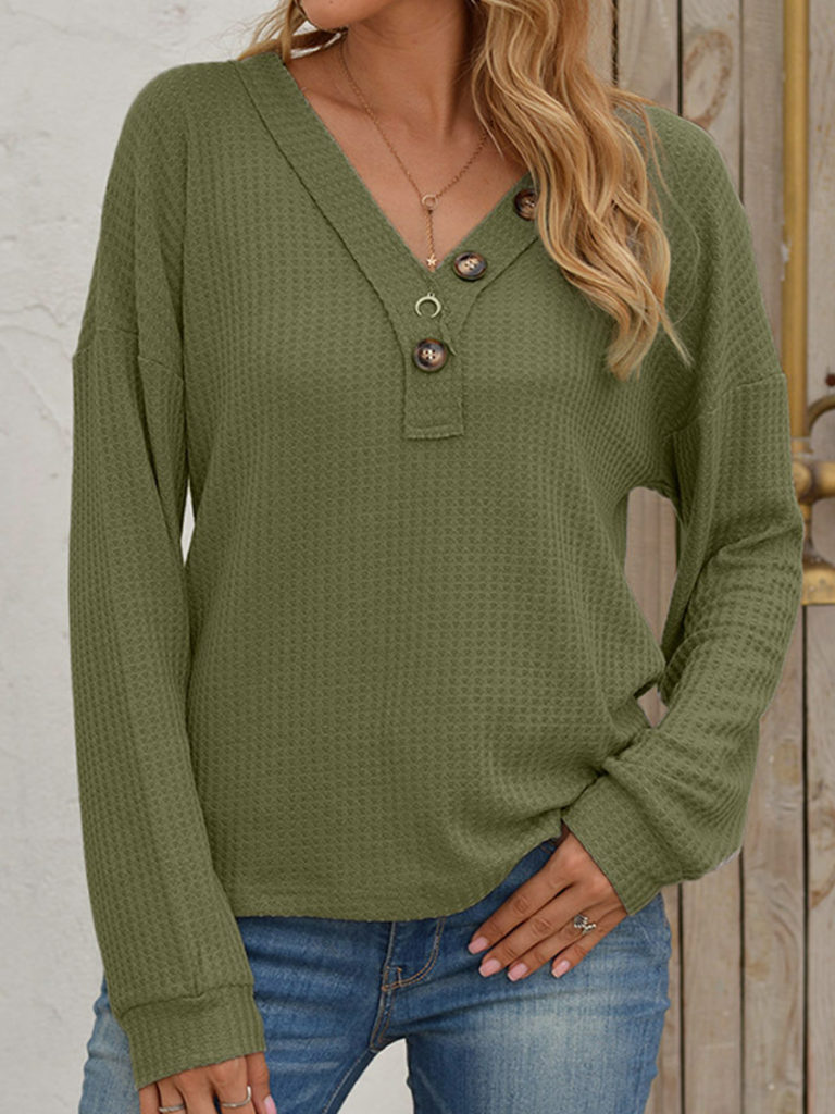 V Neck Buttons Long Sleeve T-shirt