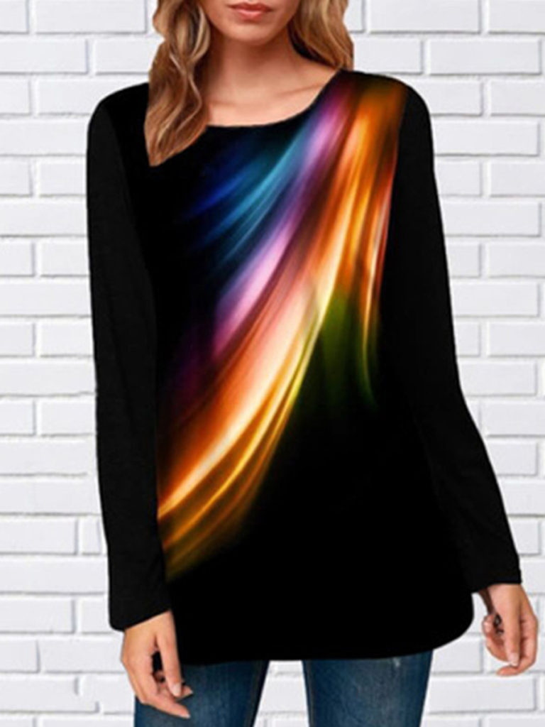 Round Neck Print Long Sleeve T-shirt