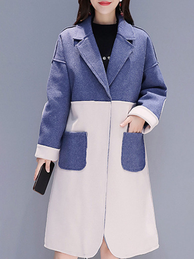 Mid-length casual woolen coat